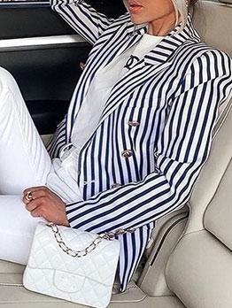 Casual Button Long Sleeve Striped Womens Blazer