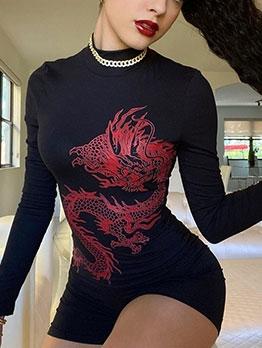 Dragon Print Mock Neck Long Sleeve Short Dress