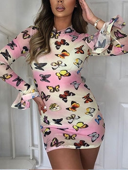Stylish Butterfly Print Long Sleeve Bodycon Dress