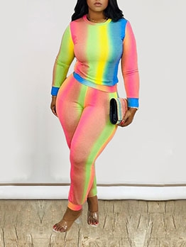Multicolored Skinny Fit Two Piece Pants Set