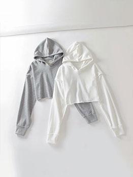 Simple Design Long Sleeve Pure Cropped Hoodie