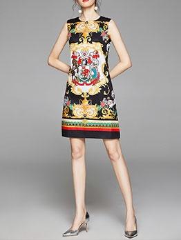 Crew Neck Print Sleeveless Dresses