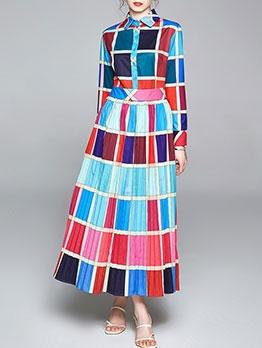 Retro Contrast Color Plaid Women Maxi Dresses