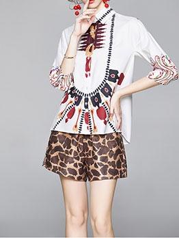 Print Top Leopard Pants Set For Women