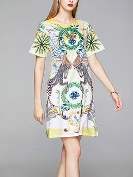 Animal Pattern Loose Women T-Shirt Dress