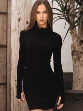 Autumn Solid Long Sleeve Turtleneck Bodycon Dress