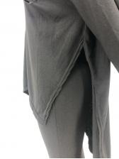 Side Split V Neck Solid Color 2 Piece Outfits
