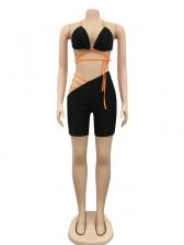 Cross Strap Bikini Top With Irregular Skinny Short Pants