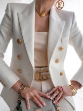 Solid Color Button Long Sleeve Casual Blazer