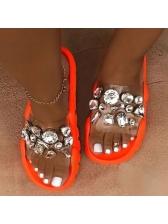 Outdoor Beach Rhinestone Ladies Slippers