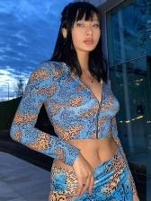Hot Sale Leopard Zipper Top Two Piece Sets