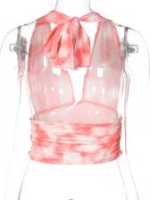 Fresh Tie-Wrap Halter Tie Dye Cropped Tank