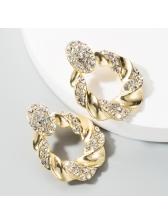 Exaggerated Shinny Rhinestone Geometric Earrings For Women