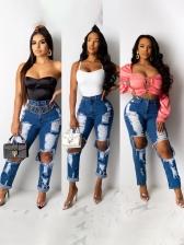 Fashion Hollow Out Women Denim Jeans