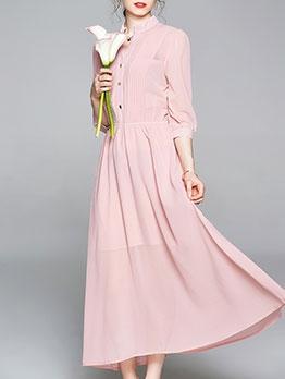 Solid Graceful Chiffon V Neck Maxi Dress