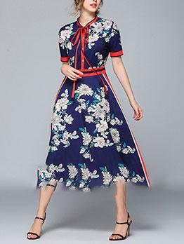 Temperament Vintage Print Short Sleeve Dress