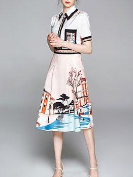 Print Elegant Women Shirt Top Skirt Set