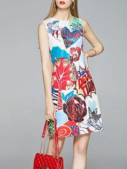 Fashion Individual Print Women Sleeveless Dress