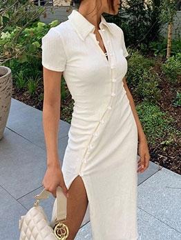 Cheongsam Style Design Vent Short Sleeve Dress