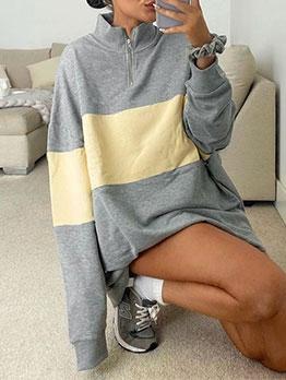 Contrast Color Loose Women Casual Sweatshirt