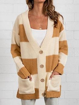 Loose Color Block Long Sleeve Long Cardigan Sweater