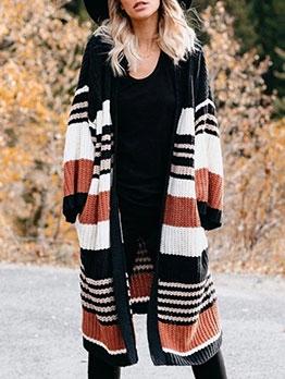 Striped Contrast Color Women Cardigan Sweater