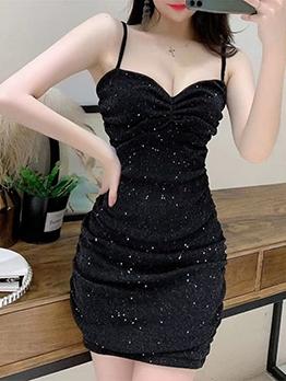 Glitter Draped Solid Color Summer Slip Dress