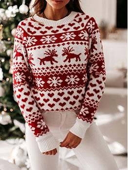 Euro Deer Printed Long Sleeve Sweaters For Women