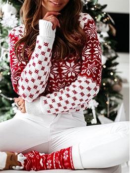 Christmas Snow Printed Knit Sweater
