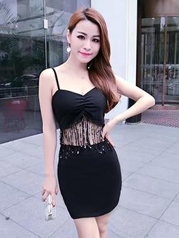Sexy Sequined Tassel Night Club Slip Dress