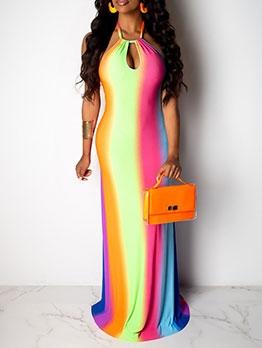 Multicolored Print Halter Sleeveless Maxi Dress