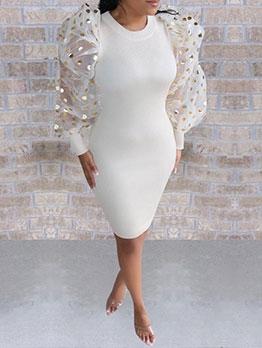 Stylish Patchwork Puff Sleeve Bodycon Dress