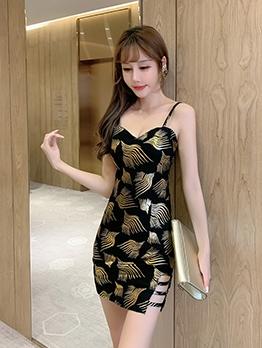 Stitching Color Slim Fit Slip Dress For Ladies