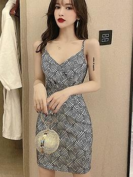 Geometric Pattern V Neck Summer Short Dress