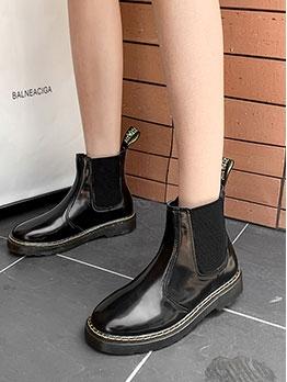 Stylish Round Toe Black Ankle Boots
