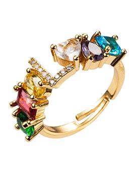 Fashion Rhinestone Letter Couples Ring