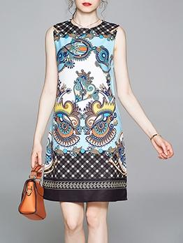 Contrast Color Pattern O Neck Sleeveless Dress