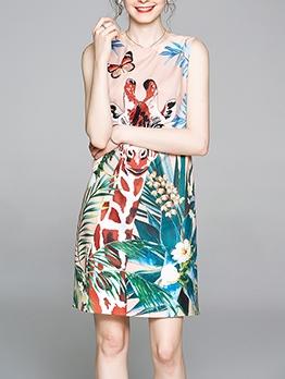 Giraffe Flower Printed O Neck Sleeveless Dress