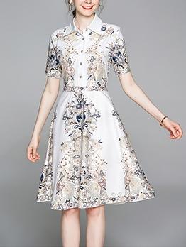 Elegant Turndown Neck Printed Short Sleeve Dress