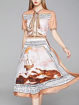 Tie Neck Letter Printed Elegant A-Line Dress