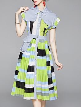 Color Block Pleated Hem Button Up Ladies Dress