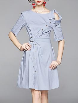 Asymmetrical Design Light Blue Ladies Dress