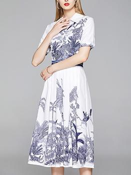 Ink Printing Knee Length Short Sleeve Dress