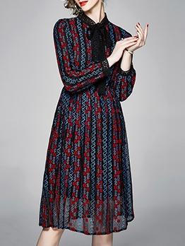 Tie Neck Flower Lace Long Sleeve Dress