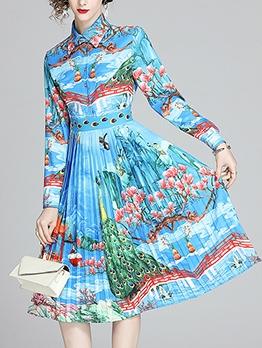 Pleated Hem Printed Blue Long Sleeve Dress