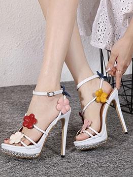 Fashion Flower Patchwork Women Heel Sandal