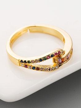 Colourful Rhinestone Fashion Unisex Rings