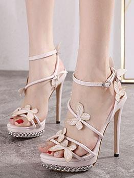 Hand-Made Flower Decor Stilettos Ladies Sandal