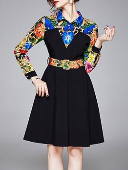 Flower Pattern Thin Waist Long Sleeve Dress