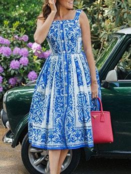 Vacation Style Print Sleeveless Dress